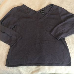 Eileen Fisher Purple V Neck 3/4 Sleeve Sweater L